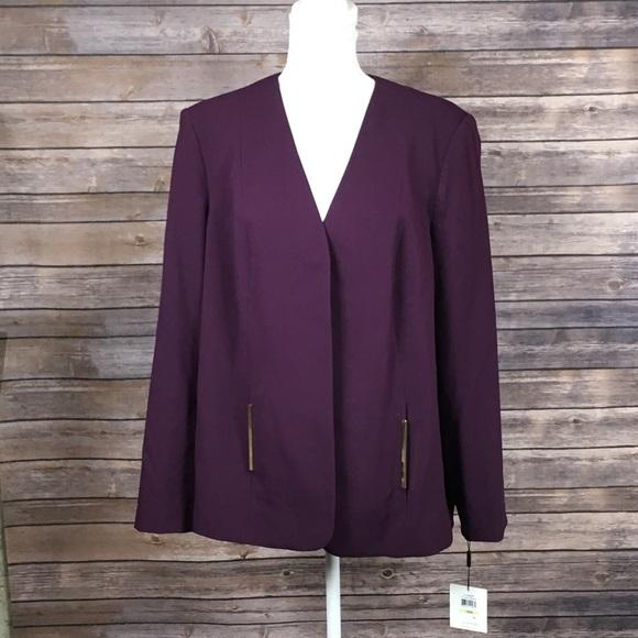 Calvin Klein Jackets & Blazers - Calvin Klein Aubergine/Purple Gold Detail Blazer